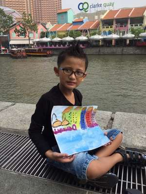 Eshaan from Primary 3C with his submission artwork