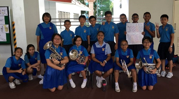 P6 members getting ready to share their experiences in Brass Band with the P1 students
