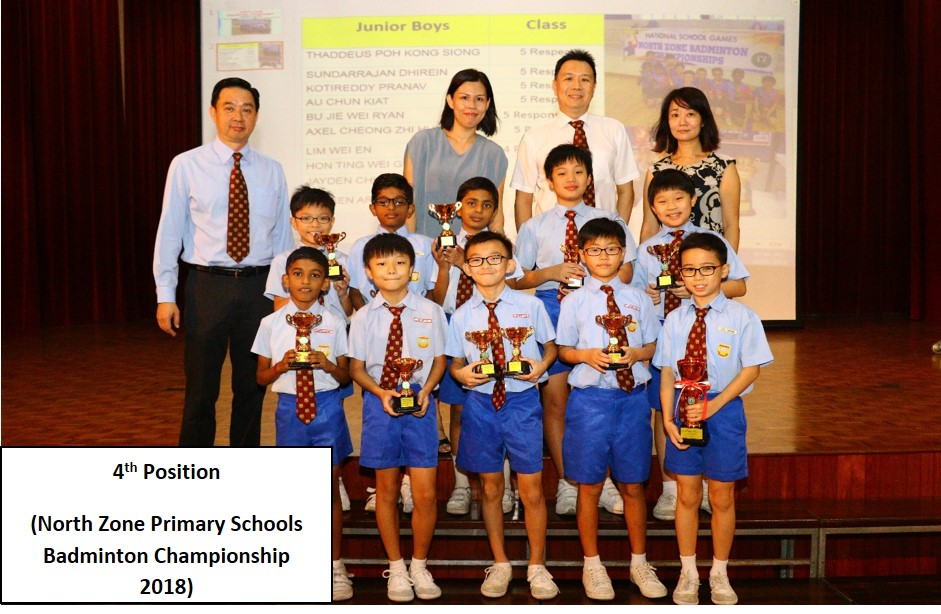 4th Position - North Zone Primary Schools Badminton Championship 2018