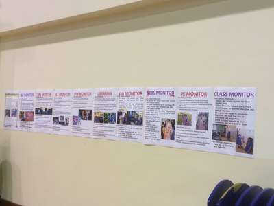 Posters of the 10 Core Classroom Monitors Displayed in the Hall