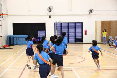 Primary 3 Netball competitors from Tekong and Seletar House