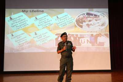 Guest speakier, Colonel Swee sharing his experience in the SAF with the students